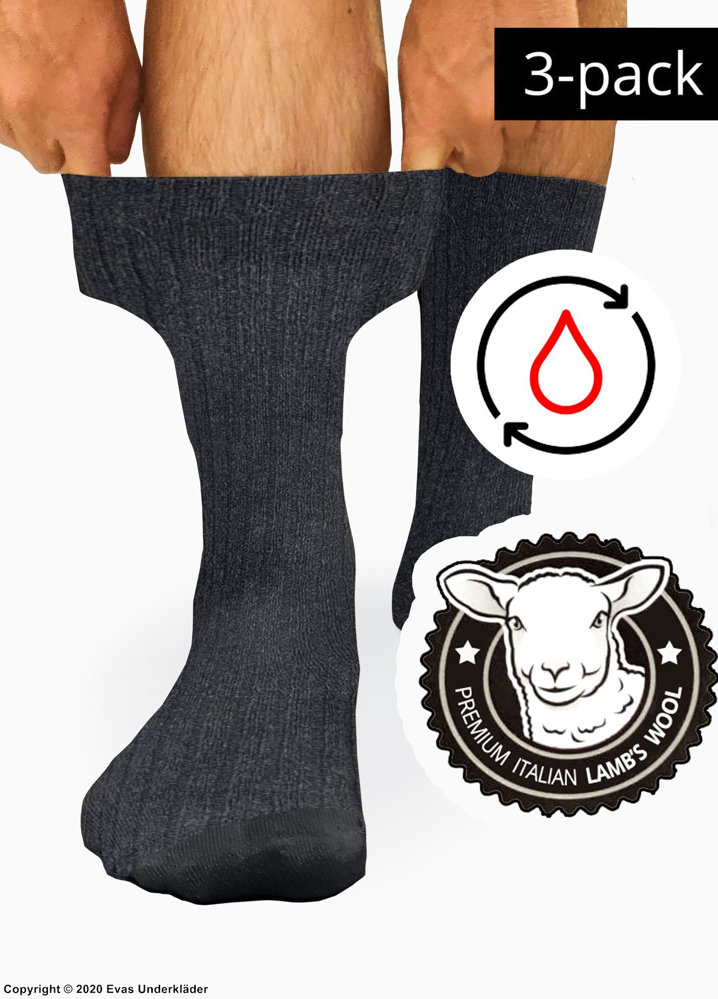 Warm comfort socks (unisex), Italian lamb's wool, gentle elastic band, very high quality, 3-pack